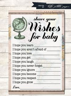 wishes for baby shower game printable welcome to the world baby shower wishes shower activity around the world globe travel theme Baby Games, Baby Shower Games, Baby Shower Parties, Baby Boy Shower, Baby Activities, Welcome Baby Party, Welcome Home Baby, Baby Shower Wishes, Wishes For Baby