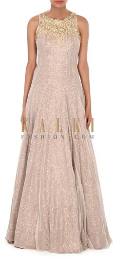 Buy this Grey shimmer gown embellished n kundan neckline only on Kalki