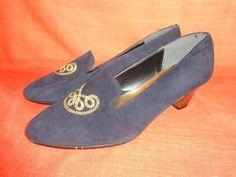 Vintage Pumps - Schuhe*Vintage*dunkelblau*gold*leder*38* - ein Designerstück von…