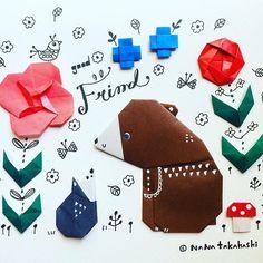"""なかよし Good friend #origami #paperflower #illustration #paperart #papercraft #bear #hedgehog #mashroom #friends #折り紙 #イラスト #ペーパークラフト #くま #はりねずみ #きのこ #なかよし Lost """"e"""" (*_*)"""