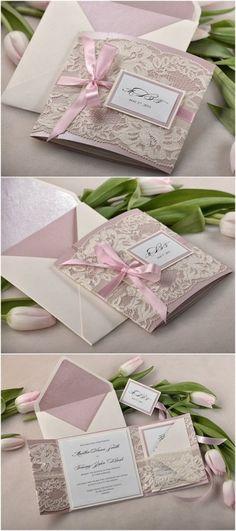Vintage Patel Pink and Ecru Lace Wedding Invite Kits