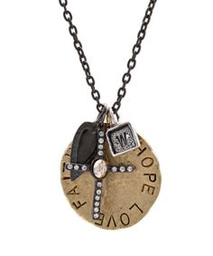 Faith, Hope Love Cluster Necklace, Large Disc