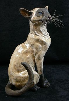 "by Lesley d. mckenzie ___artist ""Siamese Cat "" raku"