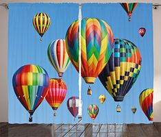 Colorful Home Decor Curtains by Ambesonne Nostalgic Hot Air Balloons in Sky Flying Journey Fun Adventure Hobby Theme Living Room Bedroom Window Drapes 2 Panel Set 108 W X 84 L Inches Blue -- Click for more Special Deals #homedecor#decor#homeideas#decor#homesweethome#homestyle#DIY