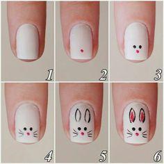 nail art tutorial / nail art designs + nail art + nail art designs for spring + nail art videos + nail art designs easy + nail art designs summer + nail art diy + nail art tutorial Nail Art Diy, Diy Nails, Cute Nails, Trendy Nails, Easter Nail Designs, Easter Nail Art, Animal Nail Designs, Bunny Nails, Nagellack Design