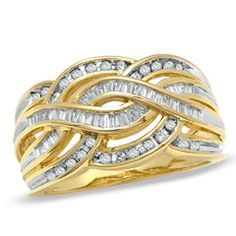 Shop For CT. Baguette and Round Diamond Twist Band in Gold at Gordon's Jewelers - CT. Baguette and Round Diamond Twist Band in Gold. Tacori Engagement Rings, Engagement Ring Buying Guide, Wedding Anniversary Rings, Wedding Ring Bands, Wedding Vows, 25th Anniversary, Wedding Stuff, Natural Diamonds, Round Diamonds