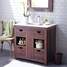 The robust beauty of reclaimed wood is perfectly paired with hand-hammered copper to create the Native Trails Cabernet Single Bathroom Vanity Set.