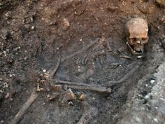 Richard III's skeleton before it was removed and identified