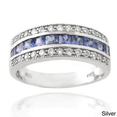Icz Stonez Sterling Silver Blue Cubic Zirconia Band Ring - Overstock™ Shopping - Big Discounts on ICZ Stonez Cubic Zirconia Rings