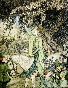 "How Queen Guenever rode a-Maying into the woods and fields beside Westminster. ""The Romance of King Arthur…"" (1917) illustrated by Arthur Rackham"