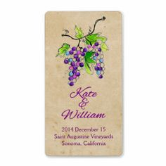 Artistic Grapes Vineyard Wedding Wine Bottle Label