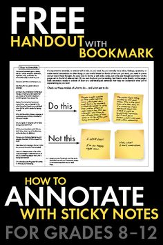 How to Annotate Text, Annotations, FREE Sticky Note Method Handout with Bookmark Help your high school students sharpen the close reading skills they need with this FREE handout. Teaching Literature, Teaching Writing, Teaching English, Ap Literature, Writing Activities, Essay Writing, Educational Activities, High School Classroom, English Classroom