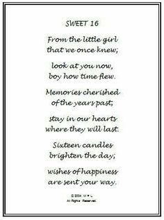 Sweet 16 poem