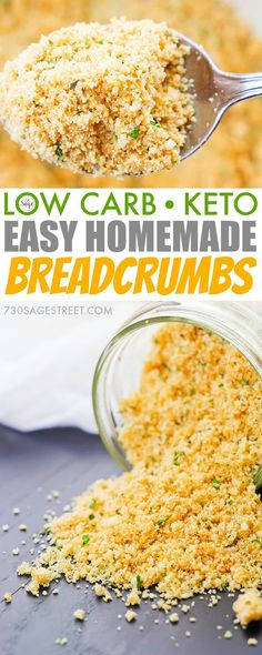 Easy homemade low carb breadcrumbs recipe. #keto #glutenfree