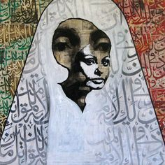 """La bella Sophia "" by Ayad Alkhadhi. From his series ""Islam International 2010"". Mixed media on Arabic newspapers on canvas"
