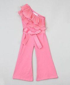 Loving this Dark Pink Asymmetrical Ruffle Jumpsuit - Infant, Toddler & Girls on Toddler Jumpsuit, Ruffle Jumpsuit, Toddler Fashion, Fashion Kids, Little Girl Dresses, Girls Dresses, Short Frocks, Kids Gown, Frocks For Girls