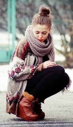 Floral Cardigan With Scarf and Winter Boots Click for more