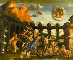 "Virtudes, Vícios E Pecados...   ""Minerva expulsando os Vícios do Jardim Das Virtudes"", Andrea Mantegna, (Isola di Carturo, cerca de 1431 - Mantua, 1506)."