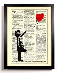 Banksy Balloon Girl, Vintage Dictionary, 8 x 10