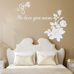 Wall Decal Quote Vinyl Sticker Decal Art Home Decor Mural Decals Quotes We Love You Mam Flowers Rose Mother's Day MS266