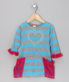 Blue Stripe Lace Pocket Dress - Toddler & Girls