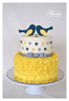 Shabby Chic Bridal Shower Cake (Navy, Yellow, and Blue)