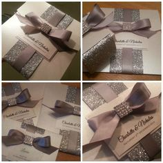 Ribbon and Rhinestone Pocket Invitation by MagnaCartaInvitation, $12.50