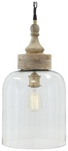 The mixed material of this Glass And Natural Wood Pendant Light by Signature Design by Ashley are right in line with the times. Turned wood finial crowns the alluring half-dome glass shade. This pendant light is now on sale at Farmhouse Pendant Lighting, Wood Pendant Light, Kitchen Pendant Lighting, Kitchen Pendants, Glass Pendants, Island Pendants, Farmhouse Kitchen Lighting, Farmhouse Light Fixtures, Dining Room