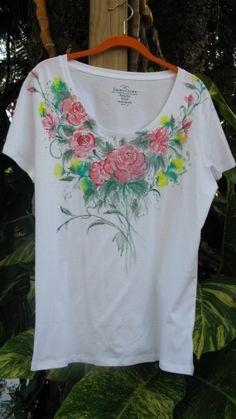 Handpainted Rose Flowered T-Shirt XL/XG (16-18)
