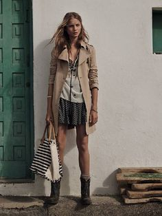A simple skirt and blouse with boots are given a dressier street style look with this coat. Indie Rock Fashion, Love Fashion, Womens Fashion, Moda Mango, Mode Editorials, Mango Fashion, Printed Skirts, Spring Summer Fashion, Coats