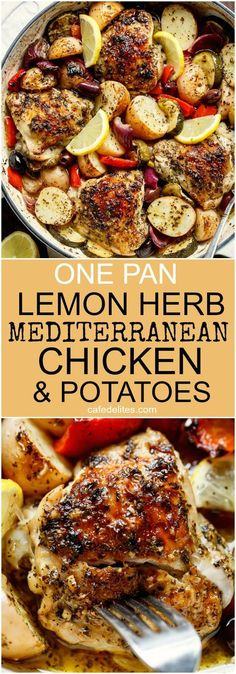 Garlic Lemon Herb Mediterranean Chicken And Potatoes, all made in the ONE PAN for an easy weeknight dinner the whole family will love! #chickenlemon