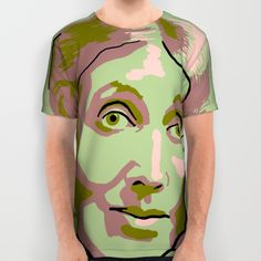 Green men's and women's American Apparel shirt with portrait of Virginia Woolf.