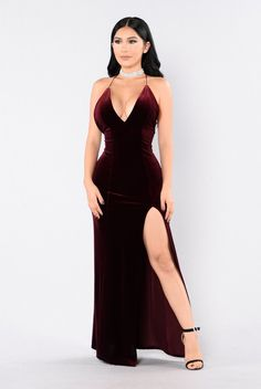 - Available in Burgundy and Hunter Green - Velvet Maxi Dress - Front Slit - Spaghetti Straps - Criss Cross Back - 95% Polyester 5% Spandex