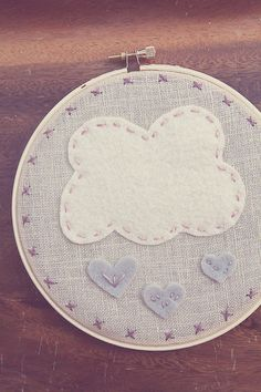 Embroidery Hoop Art Raining Pink Hearts 6inch by CatShyCrafts