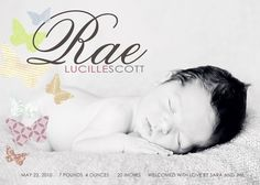 birth announcement all a flutter. by westwillow on Etsy