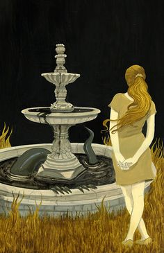 """""""F is for Fountain, where Fabiola placed a wish, something claimed her token, and it wasn't a fish."""" - from the Haunted ABC"""