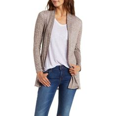 Charlotte Russe Light Taupe Ribbed & Marled Open Front Cardigan by... ($16) ❤ liked on Polyvore featuring tops, cardigans, light taupe, marled knit cardigan, drapey cardigan, drape top, open front cardigan and drape cardigan