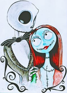 Tim Burtons Nightmare Before Christmas Jack and Sally A4 Watercolour and Pen Fan Art Print by ChloeFaeDesigns on Etsy