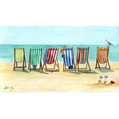 Stripy deck chairs by Lynette Merry - Seaside Art, Beach Art, Beach Watercolor, Watercolor Paintings, Watercolour, Beach Scenes, Summer Art, Whimsical Art, Painting Techniques