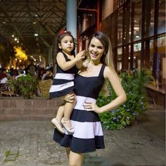 Two beautiful people on a warm summer evening Mother Daughter Matching Outfits, Mother Daughter Fashion, Matching Couple Outfits, Mom Daughter, Mom And Baby Outfits, Baby Girl Dresses, Kids Outfits, Mom Dress, Kids Fashion