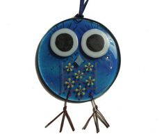 Fused glass large quirky Owl suncatcher by venusartglass on Etsy, £17.50