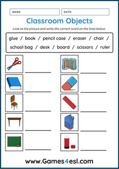 A collection of free classroom object worksheets for kids and beginner ESL students. Download and use in class today. Esl Worksheets For Beginners, Worksheets For Kids, Glue Book, School Desks, Students, Classroom, Teaching, Writing, Words
