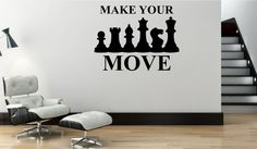 """Wall Decal """"Make Your Move"""" Chess Silhouette - Removable Vinyl Wall Decal"""