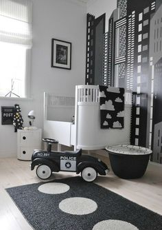 26 Baby boys bedroom design ideas with modern and best theme: black and white nursery themes for baby boys with police concept (I love the police car BC my husband Is a LEO)