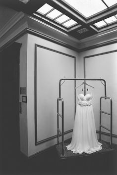 Bride's hand-embellished dress hangs in the hallway of The Walper Hotel in Kitchener Ontario - Photo by Shelby Morell Kitchener Ontario, Embellished Dress, Engagement Photography, Wedding Engagement, Bride, Mirror, Home Decor, Wedding Bride, Decoration Home