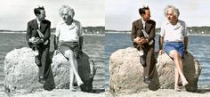 Amazing what a little colour can do... Revival of old pictures -> Albert-Einstein,-summer-1939---Nassau-Point,-Long-Island,-NY-edvos-comparison