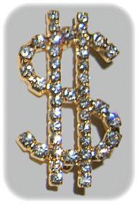 Dollar Sign Rhinestone Pin-Gold