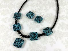 Turquoise and Black Damask Necklace and by TheBeadtiqueJewelry, $28.00