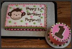 O So Sweet Cookies: Pink Mod Monkey Birthday Cakes!
