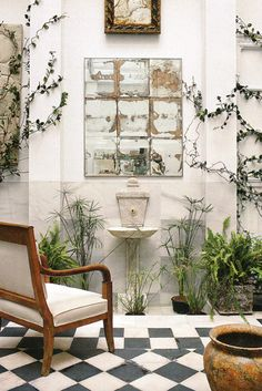 Garden Room great vintage window with black and white floor. Meditation Garden, Meditation Space, Outdoor Spaces, Outdoor Living, Outdoor Decor, Antique Mirror Tiles, Porches, Garden Mirrors, Vintage Windows